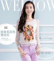 Free Shipping New 2014 Fashion Women Korean Autumn Elegant O-Neck Long Sleeve Lace Floral Print Temperament Blouse 206