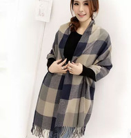 free shipping women's fashion scarf cozy artificial cashmere shawl warm wrap surprising long not itch plaid scarves high value