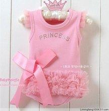 menor linda& moda mameluco del bebé niña desgaste la hermosa princesa romper encaje lazo rosa ropa de bebé rmp0021(China (Mainland))