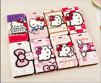 New fashion 3D cute cartoon hello kitty flip leather case cover stand wallet for iphone 4 4S 5 5S 5C 6 plus 4.7 5.5 phone case