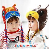 2014 New funnimals winter Plus velvet warm Children Cap Thickened Christmas elk Knitted Earmuffs Kids Bomber hats 24053#