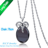 2015 New Direct Sale Fashion Jewelry Lower Price Old Sheep Patron Saint Best Selling Sweater Chain Crystal long Chain Necklace