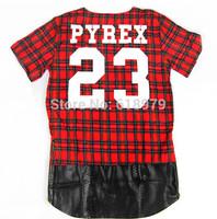 2014 new pyrex 23 hba side zipper plaid t shirt for men extended tee skateboard kanye west Oversized tartan hip hop swag tee