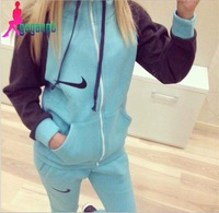 New thickening Print Sweater Suits, high Quality Autumn Winter Hoodies Sets, Women female costum Suits