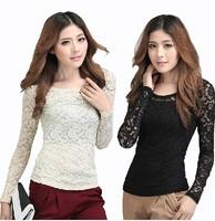 Free Shipping New 2014 Fashion Women Korean Autumn Elegant O-Neck Long Sleeve Lace Temperament Slim Was Thin Blouse 1801