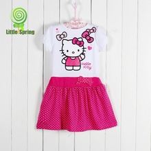 Free shipping NEW 2014 summer children dress cute girl Japan hello kitty summer dresses kids cartoon clothes clothing(China (Mainland))