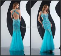Long Evening Dress 2014 New Arrival Formal dresses Sleeveless Backless Trumpet/Mermaid Evening Dresses Floor-length With Beaded