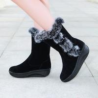 2014 womens Natural rabbit fur boots wedges women platform boots plush snow boots winter warm