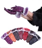 Free Shipping Korean fashion winter PU leather gloves burrs new women plus velvet gloves warm gloves Hot