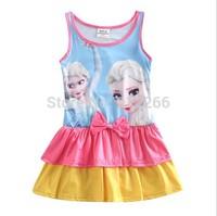 2014 Girls swimsuit frozen Elsa Princess Swimwear Girls One Piece Bathing Suit snow queen One Shoulder Strap Bodysuit, 14OCT233