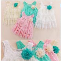 2013 infant baby girls lace dresses children clothing for autumn -summer kids princess flower tutu dress 4colors pink cake dress