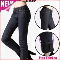 Calcas femininas 2014 new women jeans plus size winter skinny denim pants casual black fleece warm trousers pencil leggings K31