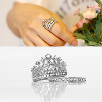 Korean jewelry fashion queen party wedding ring wild sweet rhinestone crown Ring Bridal sets 2pcs/set