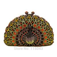 Luxury Handmade Rhinestone Women Clutch Bags Crystal Female carteira feminina Valentine Day Party Peacock Fashion bolsa feminina