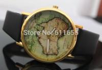 new australia map watches 1pcs/lot quartz watch golden case colorful womens pu leather band mens wristwatch vintage steampunk