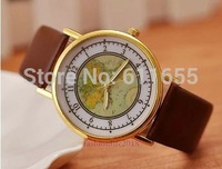 new world earth map watches 1pcs/lot quartz watch mens golden case colorful womens pu leather band wristwatch vintage steampunk