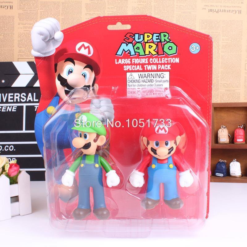 "Super Mario Bros Toys Mario & Luigi PVC Figures Collectible Dolls 5"" 2pcs/set(China (Mainland))"