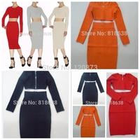 2014 new women's off shoulder 2 Set black long-sleeved red orange beige  Gray  celebrity bandage dress Wholesale  HL  02147