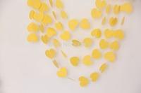50ft  5*5.5cm yellow love heart paper garlands handmade balloon hanging string  wedding baby shower wooden bridal decoration