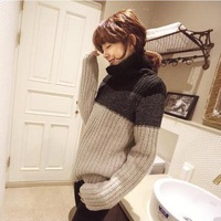 New autumn color matching stitching thickened turtleneck warm backing women's clothing white and black grey br ru 4003