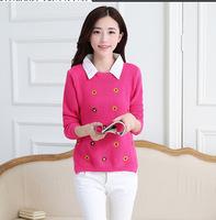 Hitz female detachable shirt collar printing slim slim Pullover 4003