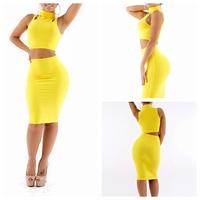 2014 free ship Yellow sexy fashion one-piece dress