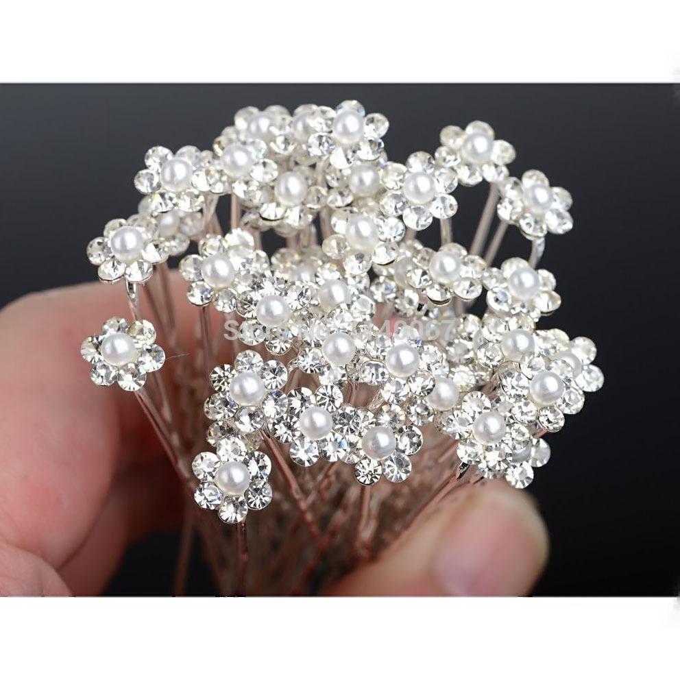A16 Free Shipping 20Pcs Lots Wedding Bridal Bridesmaid Pearl Flower Rhinestone Hair Pins Clips H6567 P
