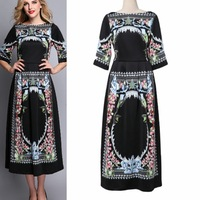 Fast Shipping ! 2015 Summer Spring New Fashion European Elegant Women's Half Sleeve Flowers Printed Black Knee-length Dresses
