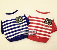 Onelove : fashion navy style stripe pet long-sleeve T-shirt basic clothing dog clothing