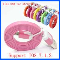 Wholesale 5000pcs/lot 1M 3ft Flat Noodle USB Data Sync Cable for iPhone 5 5C 5S 6 Plus Support IOS 7 8 Newest Version
