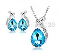 J017 free shipping Cheap  Brand Elegant Noble Austrian Crystal mermaid Necklace Earrings Wedding Jewelry Sets For Women girl