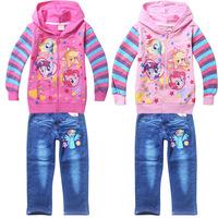 New Arrival Fashion Cartoon Print little pony  Jeans Girls Clothing Set,Children Clothes hoodies+pants jeans Suit,child outfits