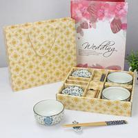 Glaze color ceramic wankuai set quality bamboo chopsticks plate porcelain tableware