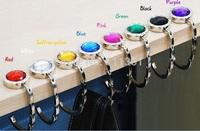 5pcs Rhinestone Fashion Folding Foldable Metal Round Hand Bag Handbag Purse Hanger Hook Holder mix Colors