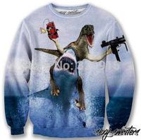2014 New fashion Women Men shark and the dinosaur Print 3D Sweatshirts Hoodies Galaxy sweaters Tops Free shipping