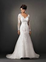 Open Back Full Sleeves Long Wedding Dresses Lace Bridal Gowns Vestidos de Noivas Custom Made