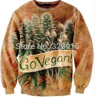 2014 New fashion Women Men Go vegan Blume Print 3D Sweatshirts Hoodies Galaxy sweaters Tops