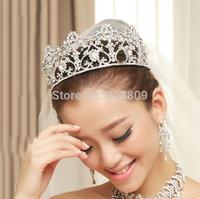 2015 new western style luxury rhinestone big wedding diadem Fashion bridal hair jewelry crown accessories