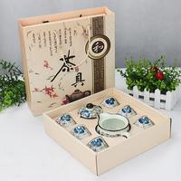 The more natural ceramic kung fu tea gift set teapot teacup eight sets wearing cap