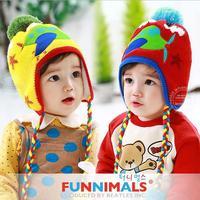 2014 New funnimals winter Plus velvet warm Children Cap Thickened Cartoon airplane pattern Knitted Kids Bomber hats 44081#