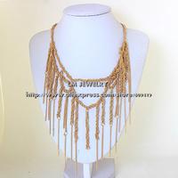 fashion jewelry for women 2014 tattoo choker collar chunky gold za tassels statement Necklaces & pendants LM-SC946
