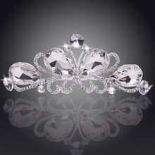 Silver Plated Clear Rhinestone Crystal Tiara Butterfly Crown Bridal Princess Jewelry headband Wedding Hair Accessories For