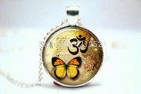 10pcs/lot Butterfly Om Necklace, Zen Jewelry, Yoga Charm Pendant 2  glass cabochon dome pendant necklace