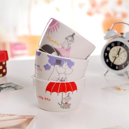 Bone China Rice Bowl Ceramic Bowl Sweets Bowl Cartoon Moomin Japanese Style Tableware 1pc Free Shipping(China (Mainland))