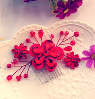The bride red vintage formal dress cheongsam hair accessory  marriage accessories