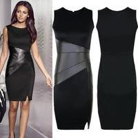 Black Garment 2014 New Celebrity Slim OL Leather Patchwork Casual Pencil Dress Sexy Bodycon Sleeveless Elegant Party Vestidos
