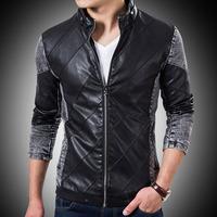 2014 Autumn Winter Men PU Leather Jacket Men Fashion Denim Sleeve Coat Patchwork Jaqueta de Couro Homens Plus Size M-4XL Clothes