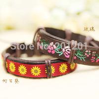 2014 Wholesale New Fashion Brown Genuine Leather Bracelet Wrap 4130 Rose Sunflower Women Strap Wristband Free Shipping