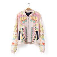 2014 new hot sell Women's European style printing baseball bat sleeve casual dress shirt jacket zipper jacket/woman coat  110304