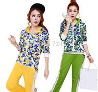 Camouflage design fashion hot sale women plus size tracksuits clothing set,sport suit jogging suits for women sportswear